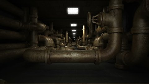 Interior of factory . Industrial underground dark and horror tunnel with old piping system.  Loop 3d animation.