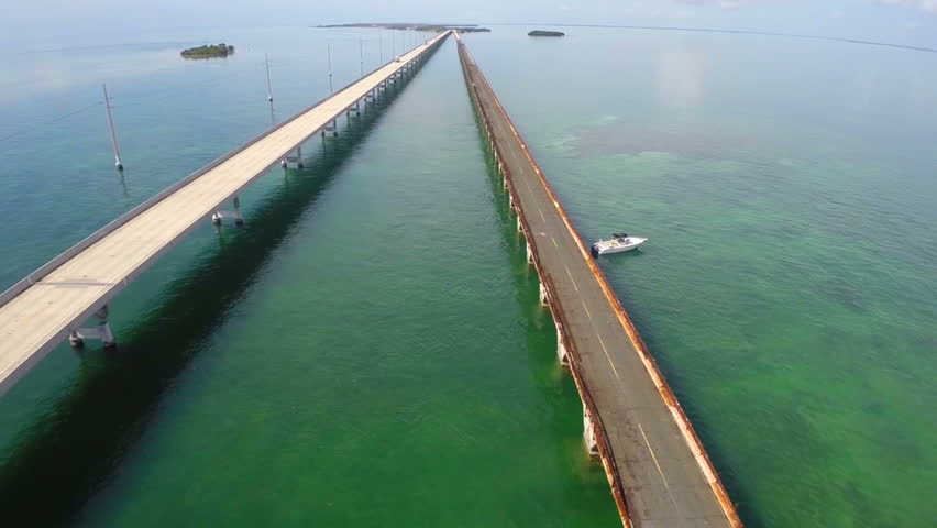 Aerial video of the 7 seven mile bridge in the Florida Keys circa 2014