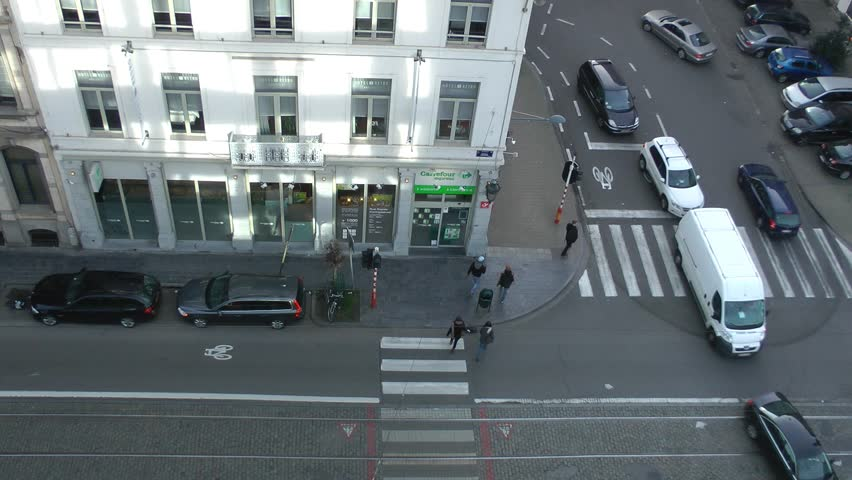 Trams, Buses, Cars - high angle view traffic timelapse