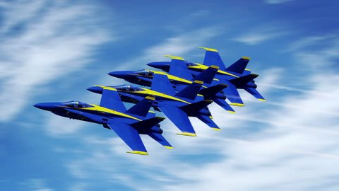 4 Blue Angels F-18 Superhornets in tight formation