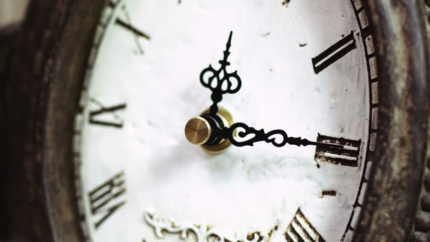 Time-lapse of beautiful, antique clock with decorations. (high definition, 1920x1080, timelapse, HD, 1080p) close-up shot, Fine pattern of cracks formed on old clock-face. Passing of time
