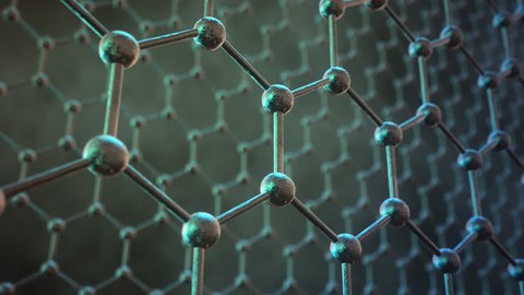 Seamlessly loopable animation of the graphene structure. Two rows of reflective dark carbon atoms in shape of honeycomb.