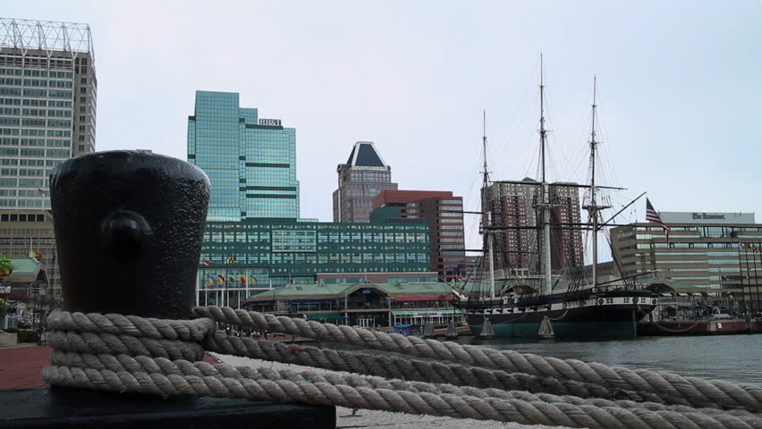 Baltimore, Maryland - March, 2013 - Wide shot of USS Constellation (1854), a sloop-of-war sail-only warship designed and built by the US Navy, docked on Inner Harbor.