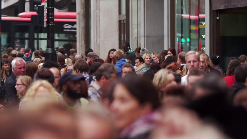 LONDON, UK - OCTOBER 8, 2011: Crowded Oxford Street in slow motion.