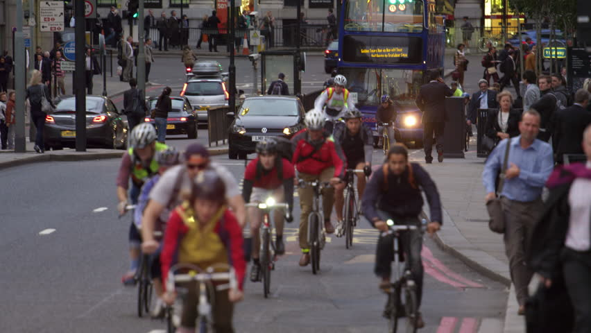 LONDON, UK - OCTOBER 10, 2011: Cyclists in busy London traffic