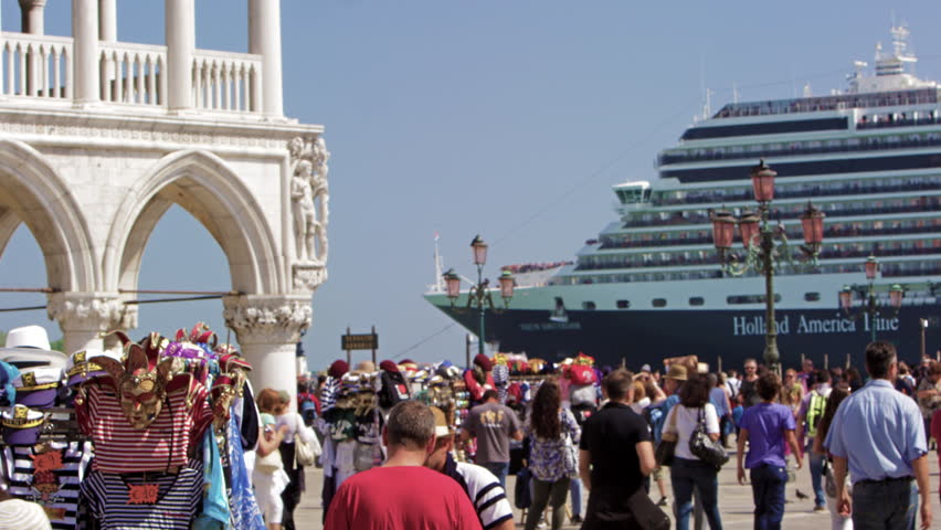VENICE, ITALY - MAY 2, 2012: Slow motion shot of cruise ship pulling up near
