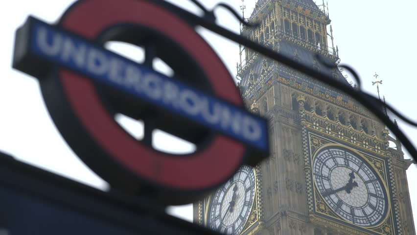 Pull focus/rack focus from Big Ben Clock face (Elizabeth Tower, Clock Tower) to London Underground Sign (Westminster)