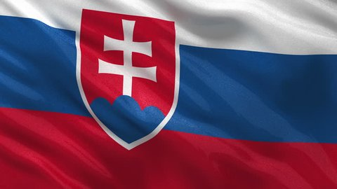 Flag of Slovakia gently waving in the wind. Seamless loop with high quality fabric material.