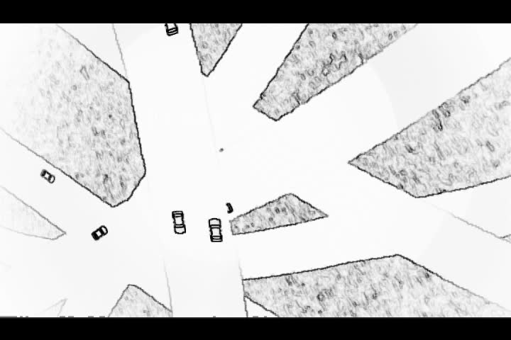 Draft animation of passing cars on a network of highways.