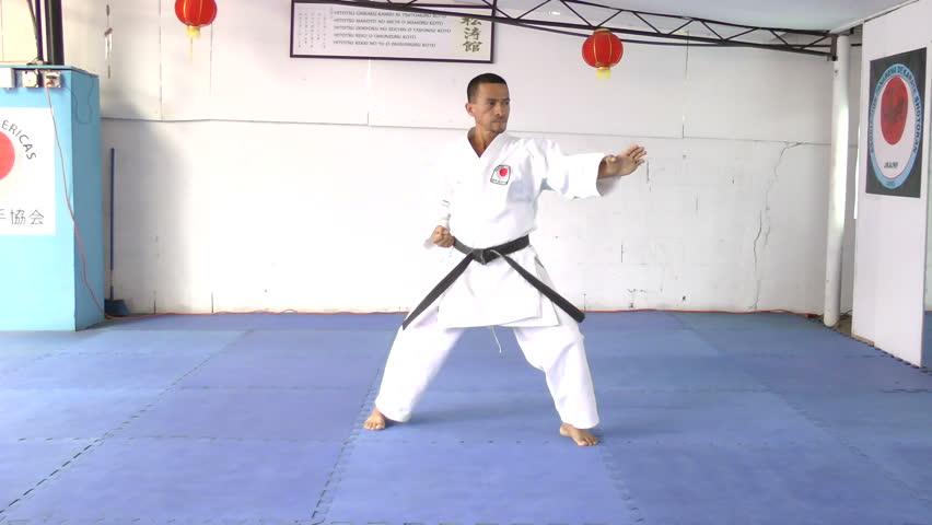 martial arts man in kimono exercising karate kata.