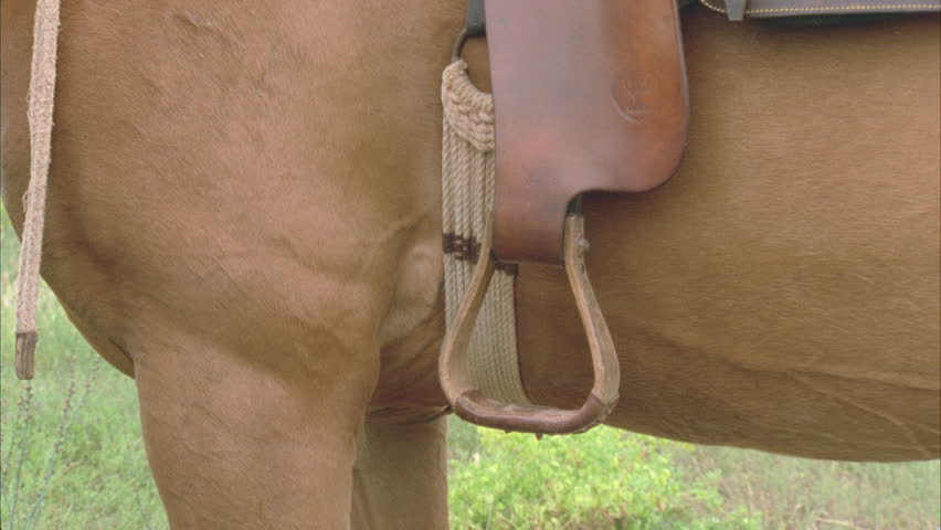horse rider puts his boot into stirrup rides off