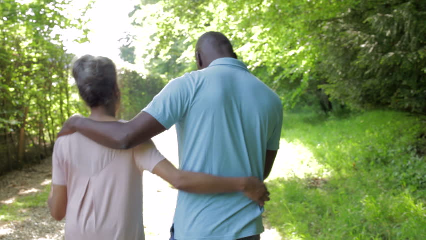 Stock video of mature african american couple walking