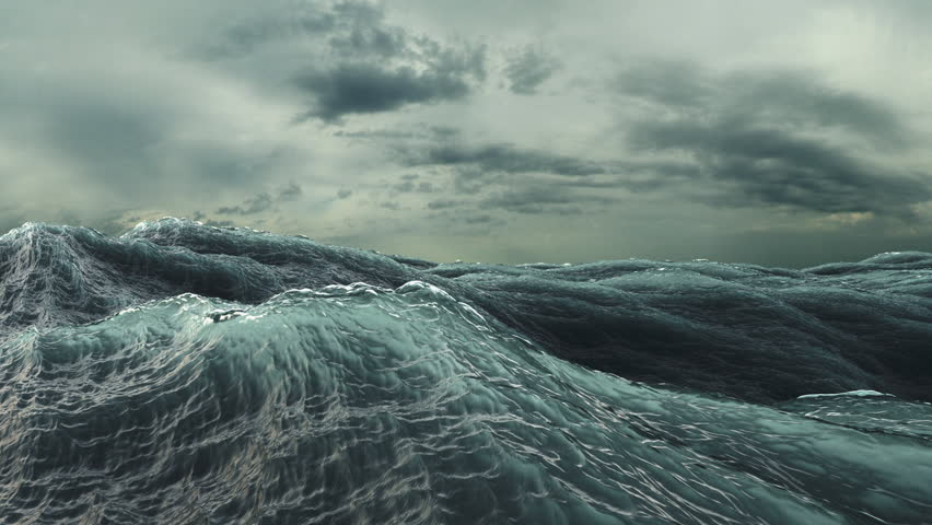 Rough Sea Loop 3D A loop of big waves in an agitated ocean. Camera goes underwater several times, 4k | Shutterstock HD Video #5889806