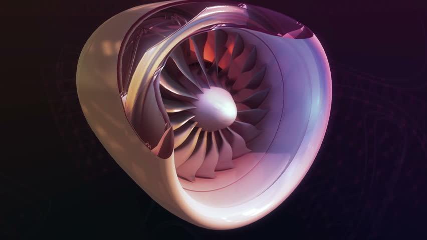 Turbojet Airplane Airliner Engine Black Night Metallic Grows into a plane Jet