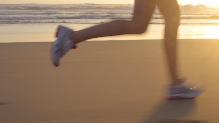 Running woman outdoors beach run | Shutterstock HD Video #5895974
