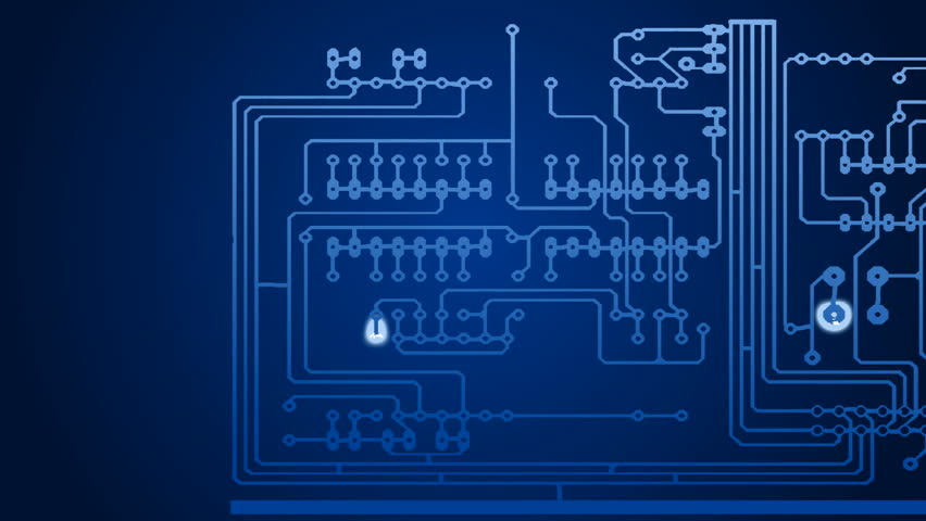 Growing blue circuit boards , infinite loop, HD background
