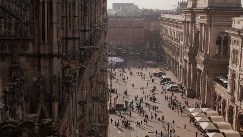 Italian landmarks and monuments, view of Milan city, Duomo square and Galleria Vittorio Emanuele. High angle view