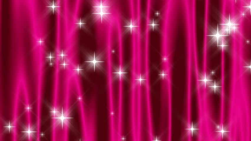 HD 720p wide screen loop of abstract vivid pink curtain with falling and shooting stars.