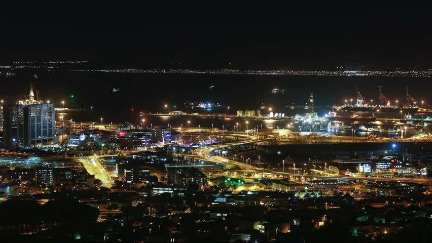 Cape town city overview time-lapse shot during busy night | Shutterstock HD Video #5938856