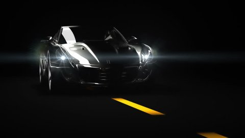 Glossy black car whit white reflections.