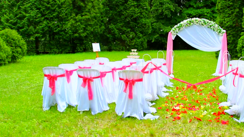 Wedding set up in garden park outside wedding ceremony settings for white wedding sequence of tree cuts wedding decoration for outdoors celebration junglespirit Gallery