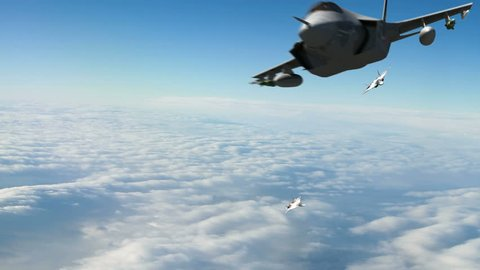 A U.S. F-35 fighter jet chased by two Sukhoi PAK FA Russian fighters. Highly detailed and qualtiy 3d animation.