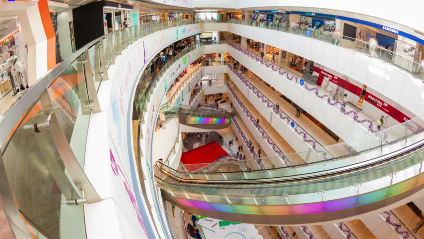 Hong Kong, China - Nov 15: 4k hyperlapse video of people shopping in the APM shopping mall in Hong Kong on November 15, 2013. Many shops inside the mall are open overnight.