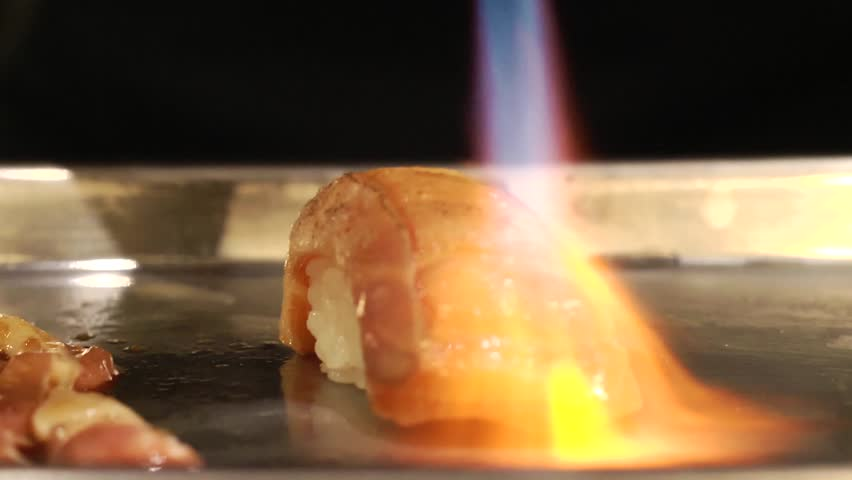 Blowtorch Salmon Sushi on Tray