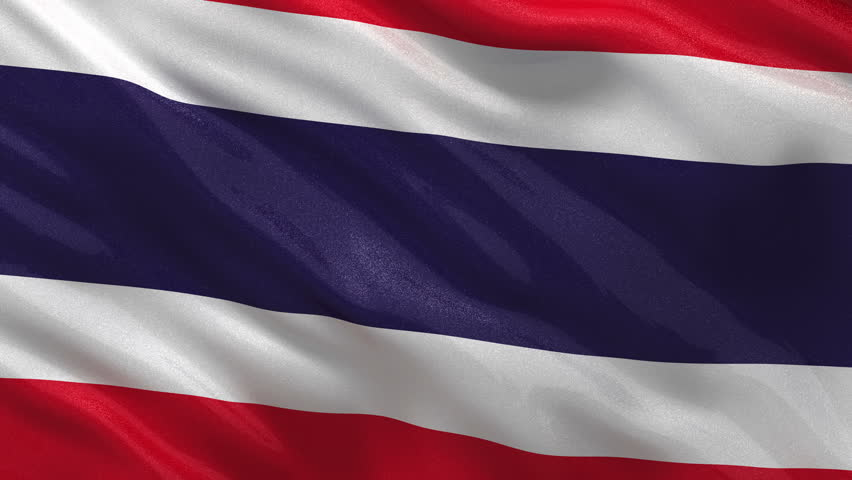 Flag of Thailand gently waving in the wind. Seamless loop with high quality fabric material.