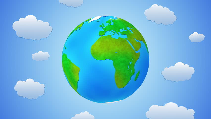 World cartoon with clouds, loopable.