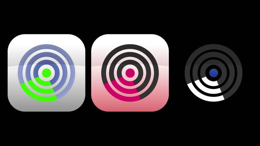 Set of three rotating radar app icons.  Loopable with luma matte.