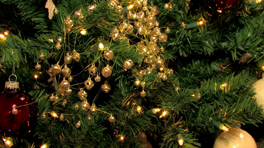 christmas tree with golden ornaments pan up hd stock footage clip - Live Christmas Tree