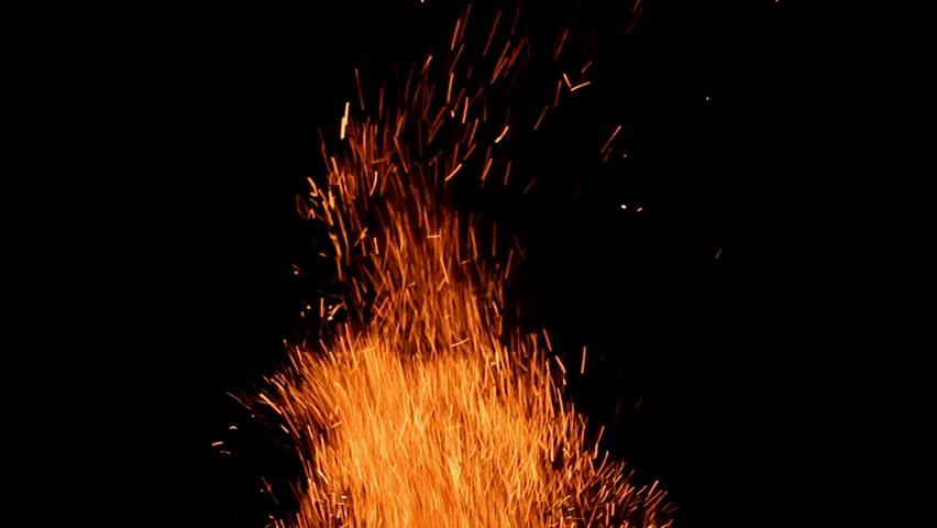 Fire sparks. Big fire.