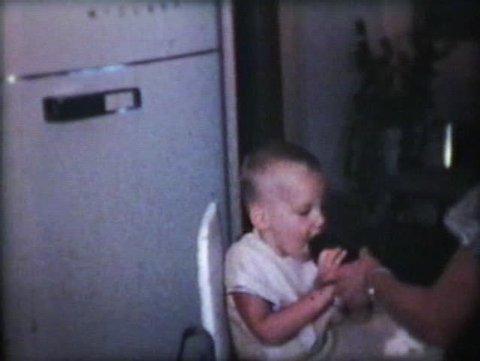Little Boy Drinking Juice (1963 - Vintage 8mm film)