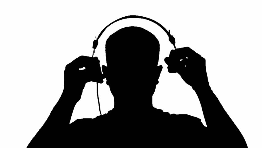 Young Silhouette Man Is Listening Music With Headphone And ...