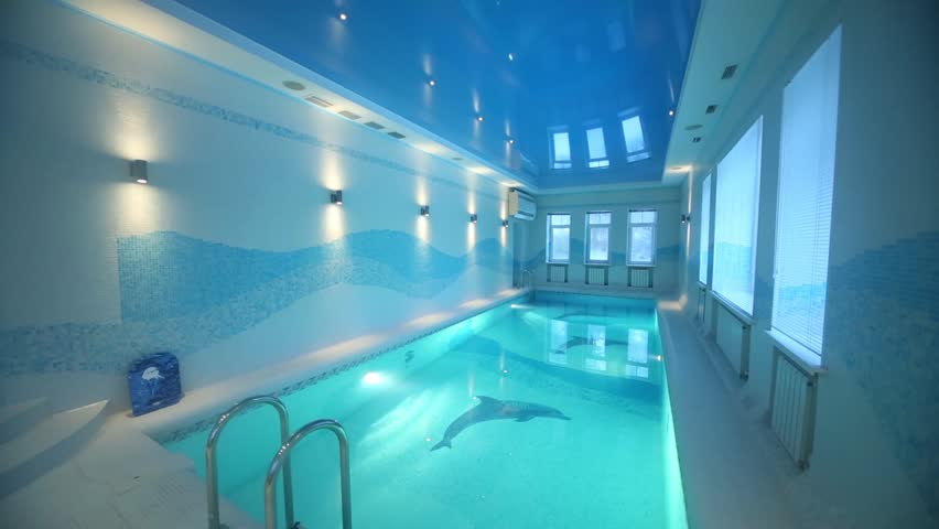Big Houses With Indoor Pools new big indoor pool with pure water with whirlpool stock footage