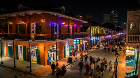 NEW ORLEANS - 31 JAN: Timelapse view of Bourbon Street from above. Bourbon Street is a popular entertainment area that attracts visitors from all over the world on 31 January 2014 in New Orleans, USA