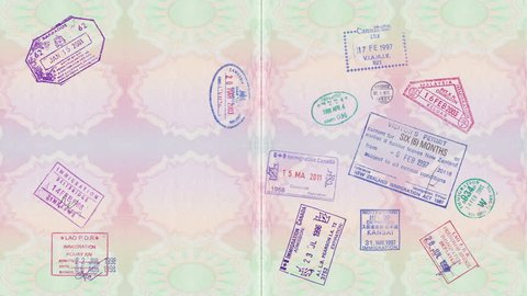 Animation Of Vintage Stamps On A Passport