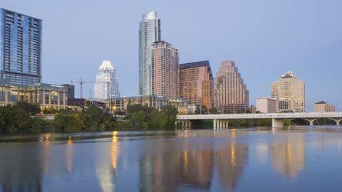 AUSTIN - CIRCA NOVEMBER 2013: Lady Bird Lake, Congress bridge and the Skyline of downtown Austin, Texas, USA