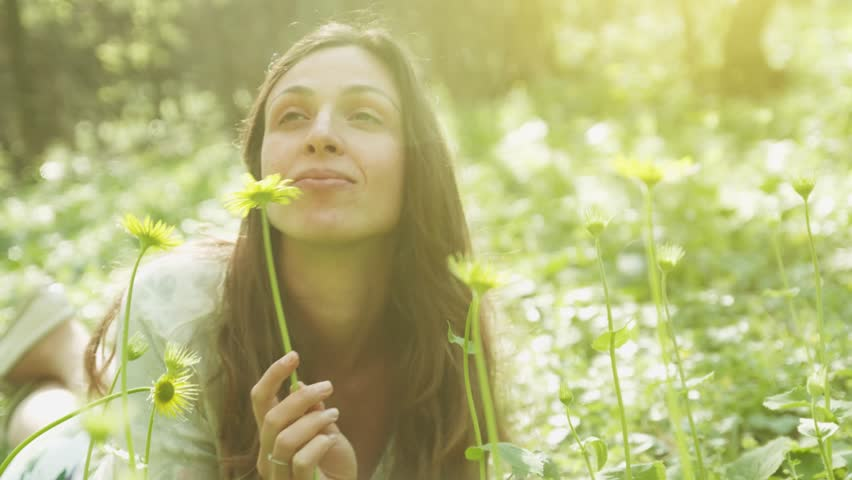 Beautiful Woman Holding Flower in Forest Sprig Nature Awakening #6052616