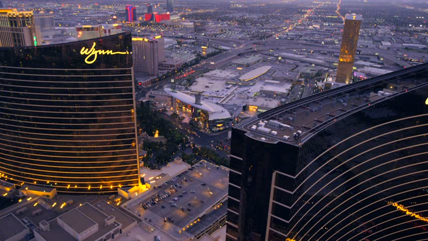 LAS VEGAS, NEVADA, CIRCA 2013 - Aerial view of the Encore and Wynn hotels in Las Vegas, Nevada.