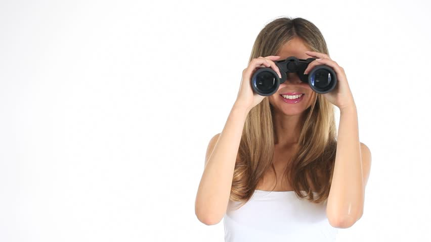Blond Business Woman Holding Binoculars Against A White ...