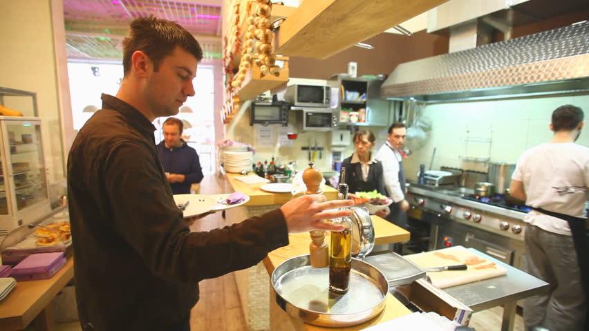 Busy Restaurant Kitchen busy chefs in kitchen in restaurant stock footage video 6091616