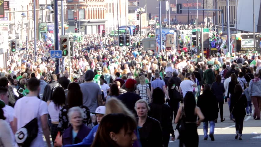 Birmingham's St Patrick's Day parade 2014 - big crowd after parade 2.  Digbeth High St., Birmingham, UK.