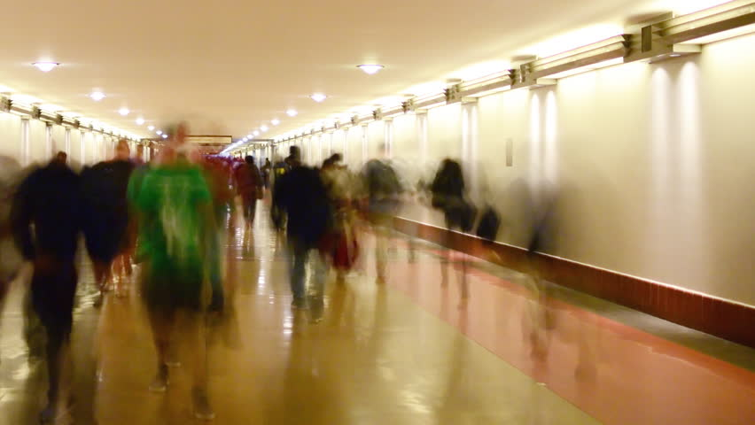 Time Lapse of Union Station Hallway with Commuters in Motion Blur -Pan-