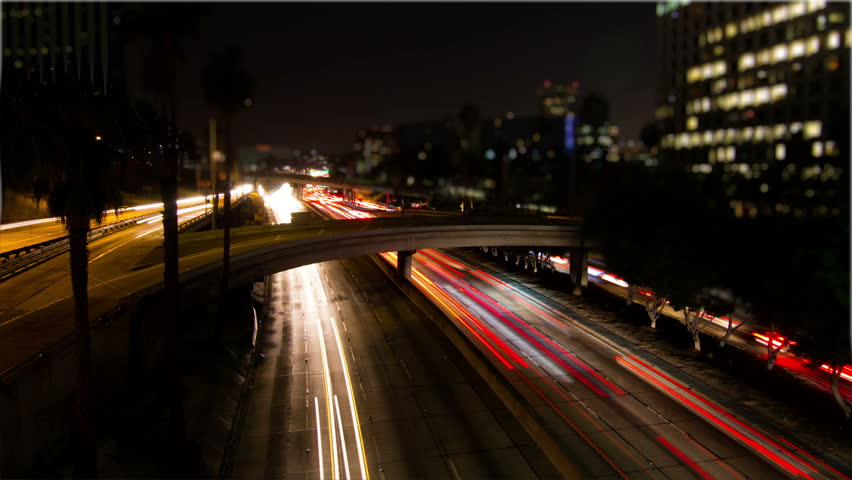 4k Long Exposure Time Lapse of Night Traffic in Los Angeles California
