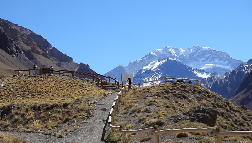 View of the South face of Aconcagua pick from the entrance of the park. Aconcagua Provincial Park, Mendoza, Argentina, South America.  | Shutterstock HD Video #6155546
