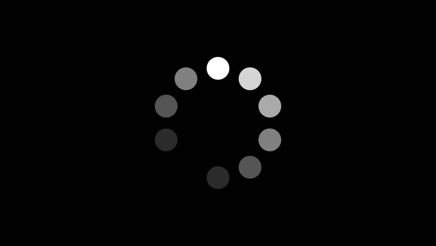 Loading Circle w/ Alpha (25fps). Ten animated dots fading in and out in sequence creating a rotating effect. Rendered large with an alpha channel to layer on top of other elements and footage. #6183926