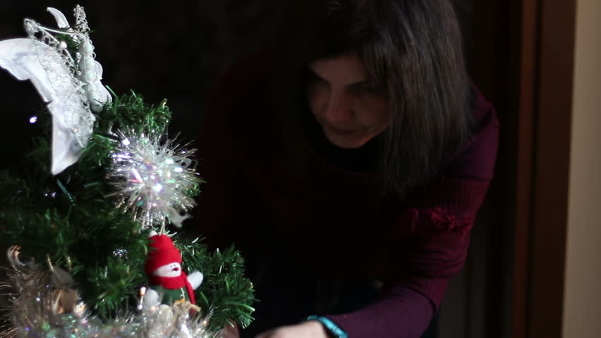 Woman Decorating Christmas Tree Hd Stock Footage Clip