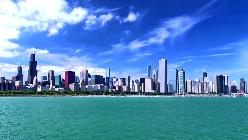 chicago skyline on a beautiful stock footage video  100